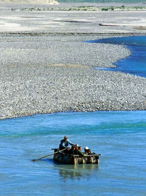 Crossing the river, Tibet 1992