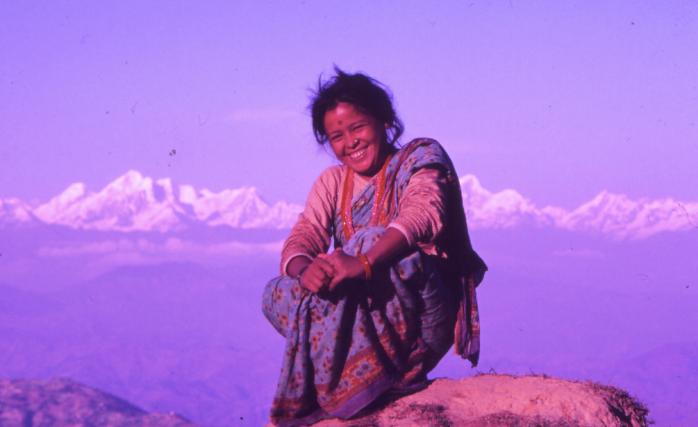 Nepali Lady and the Himalaya, Nepal 1986