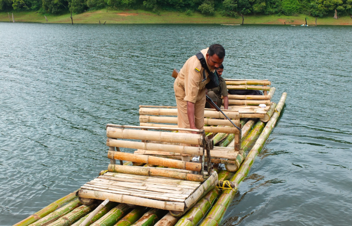 Bamboo Rafting on Lakke Periyar, Kerala, India